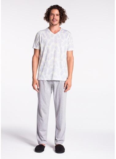 Dagi V Yaka Kısa Kollu Pijama Takımı Sarı